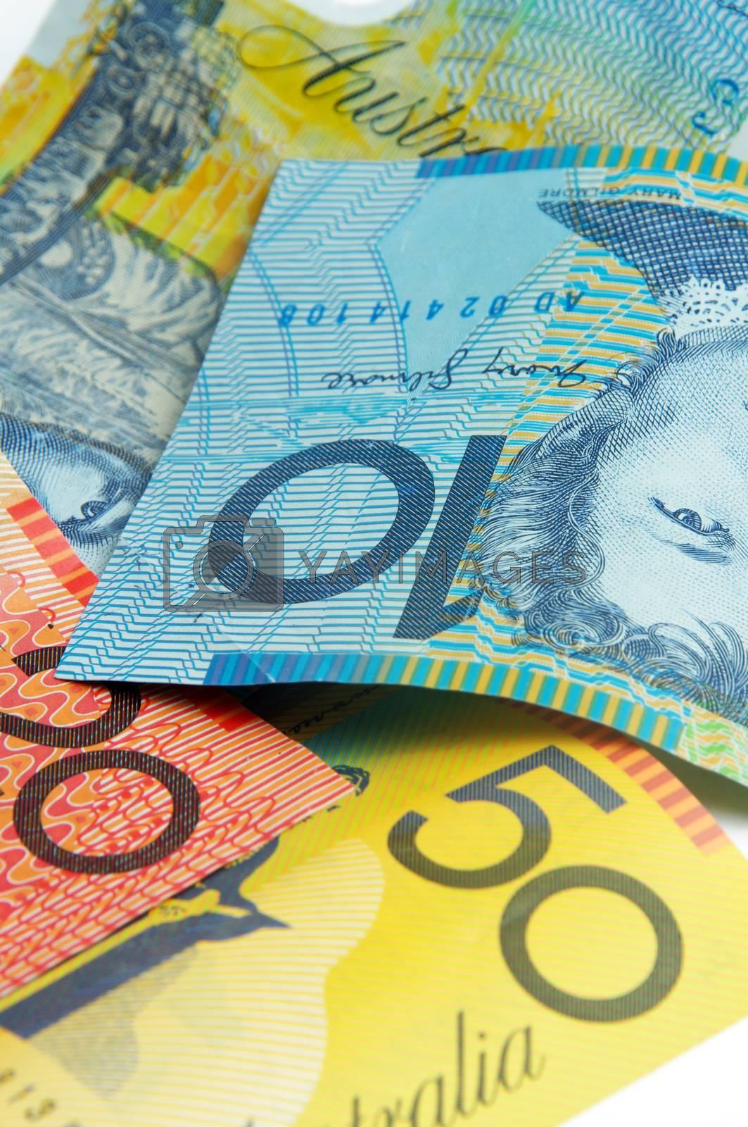 closeup of the australian money