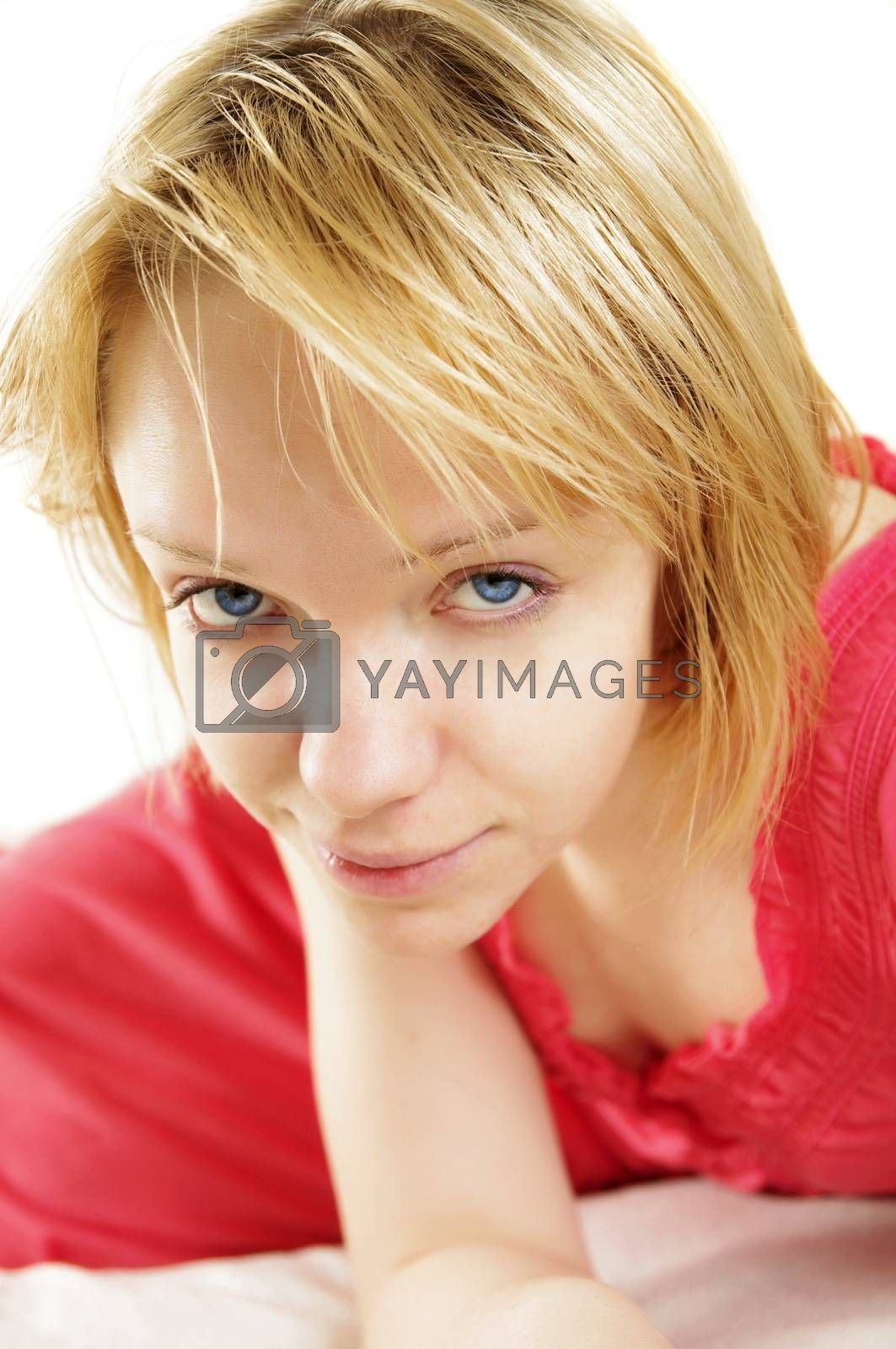 beautiful girl  sitting on bed