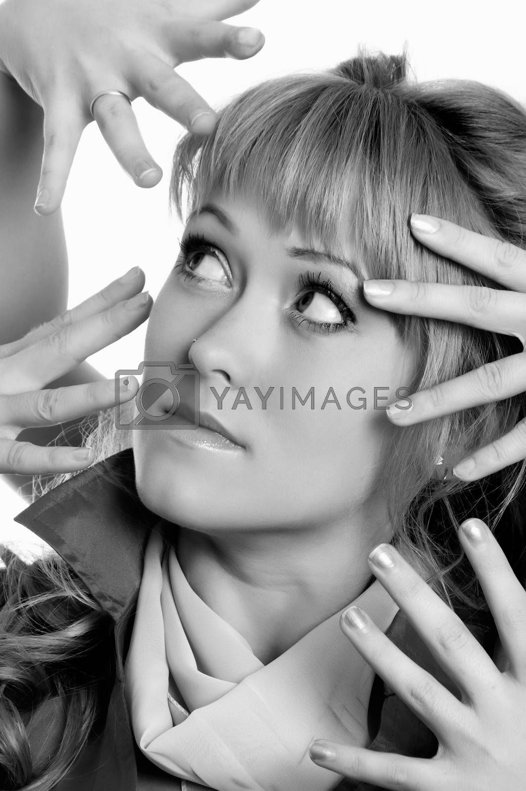 a lot of scary hands over the woman.toned picture