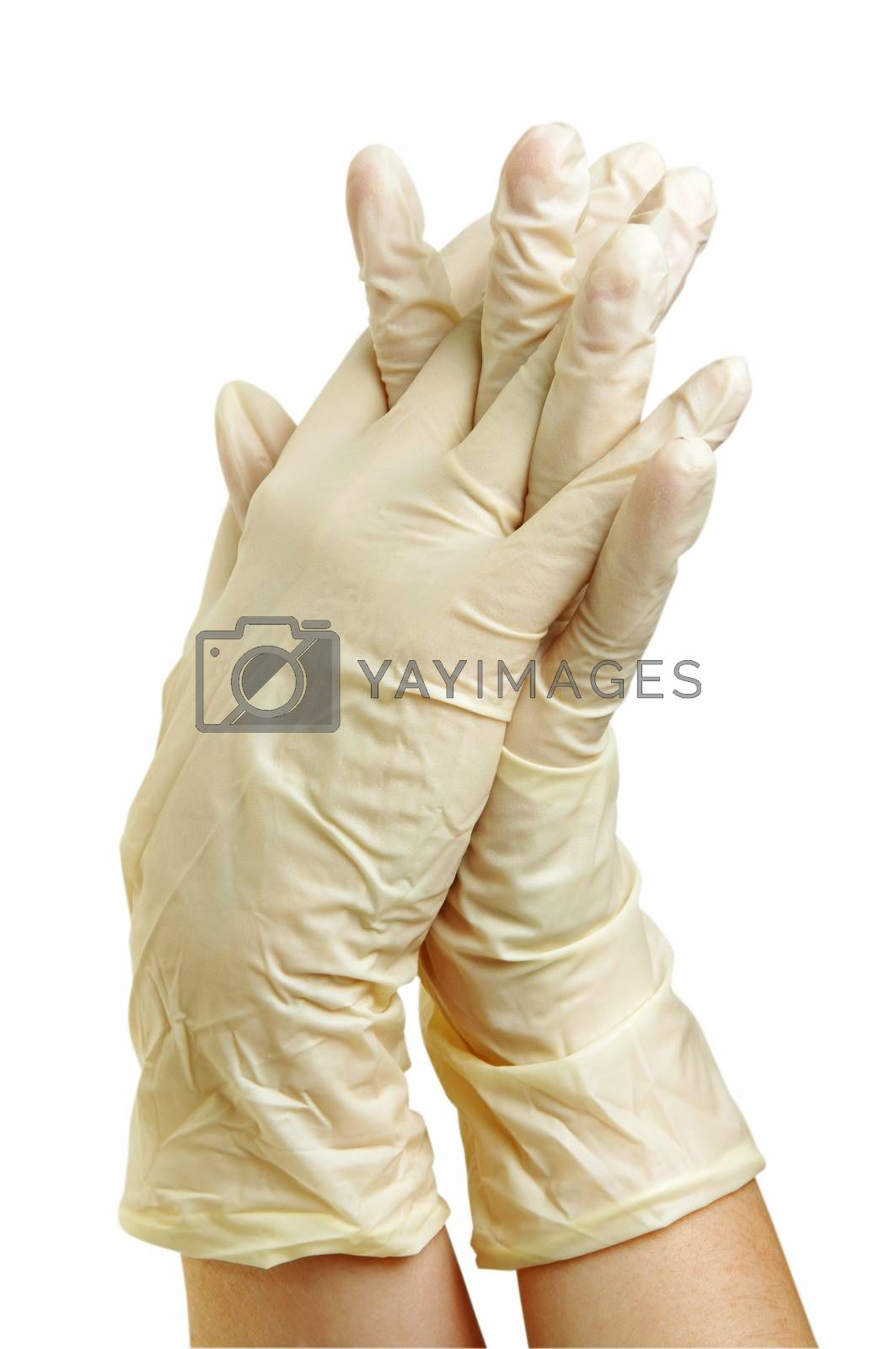 hand with medical gloves on white