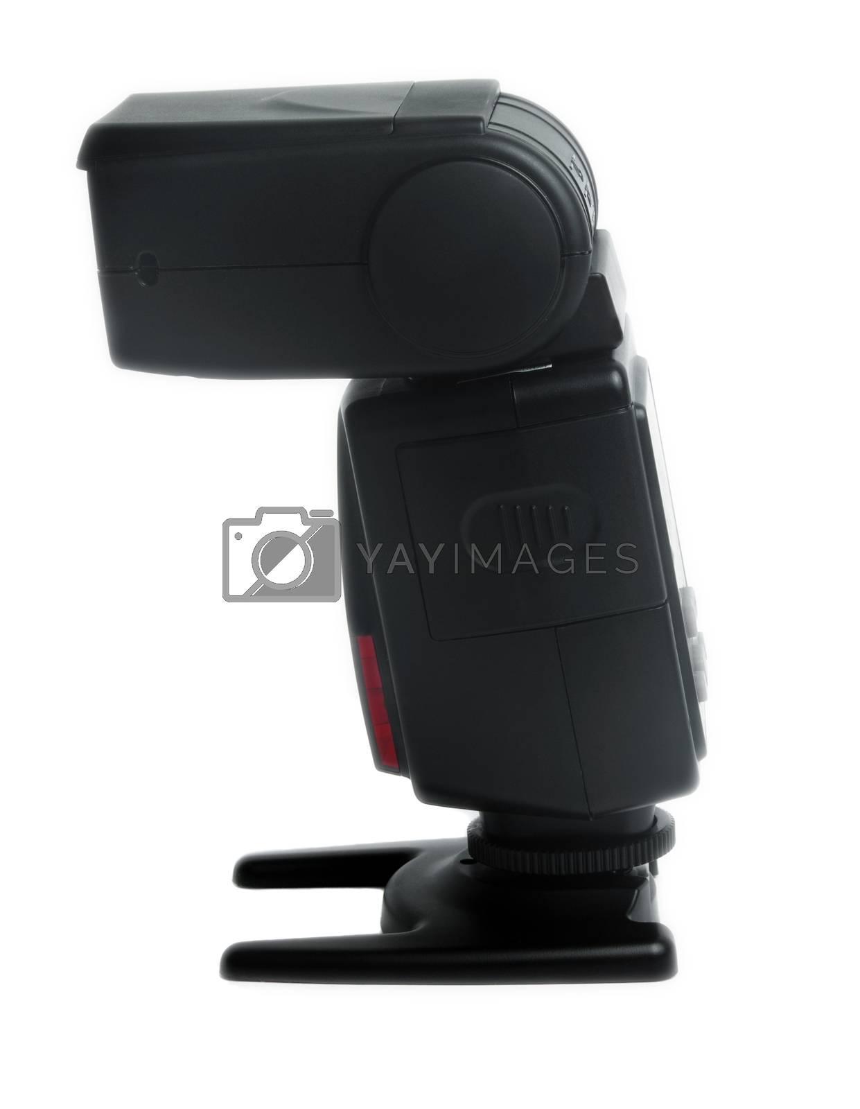 black camera speedlight flash on white