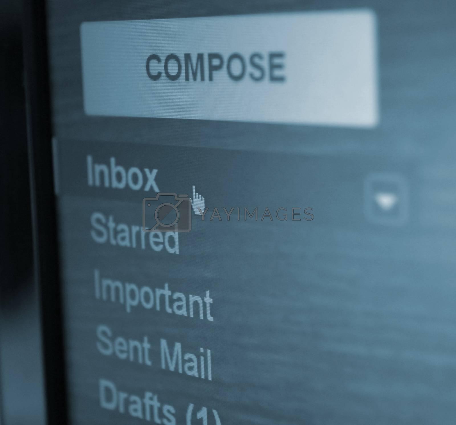 inbox mail folder closeup.focus on cursor