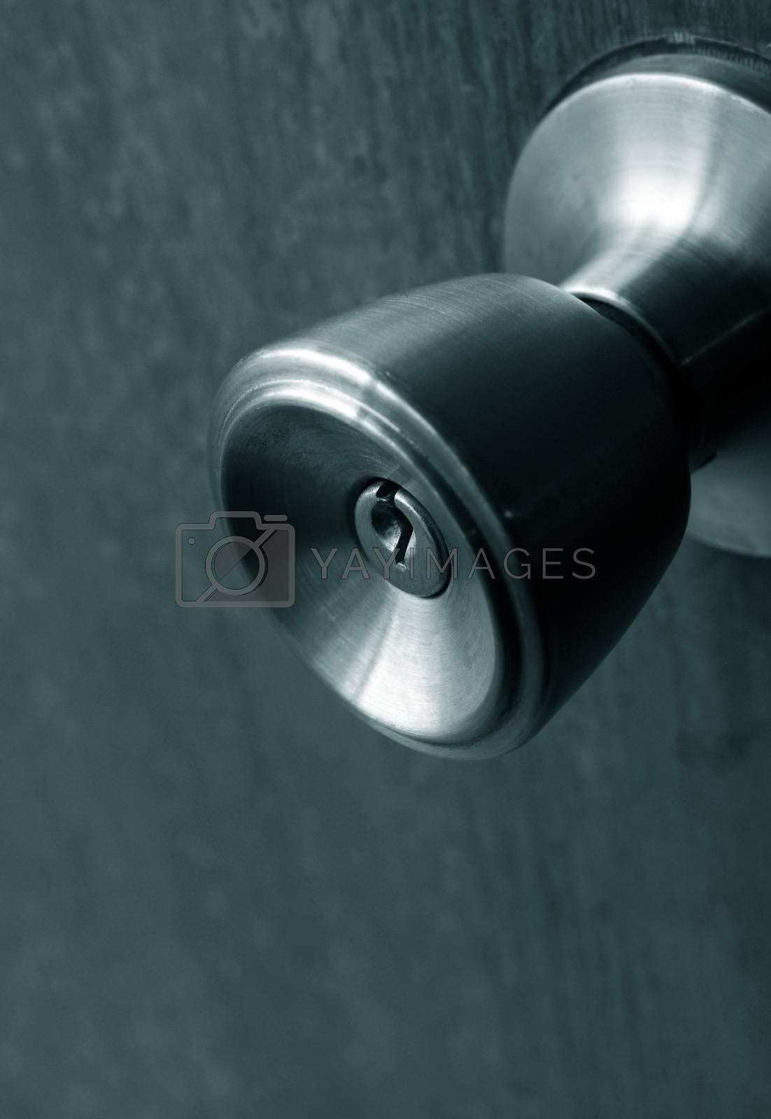 closeup of old rusty door lock.shallow DOF
