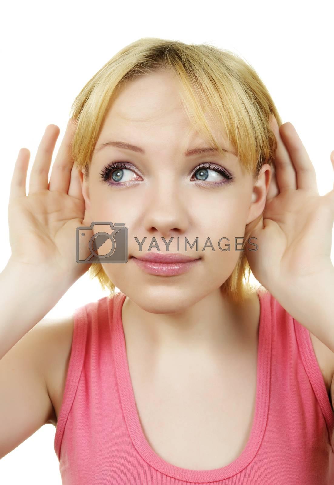 blonde female woman listening