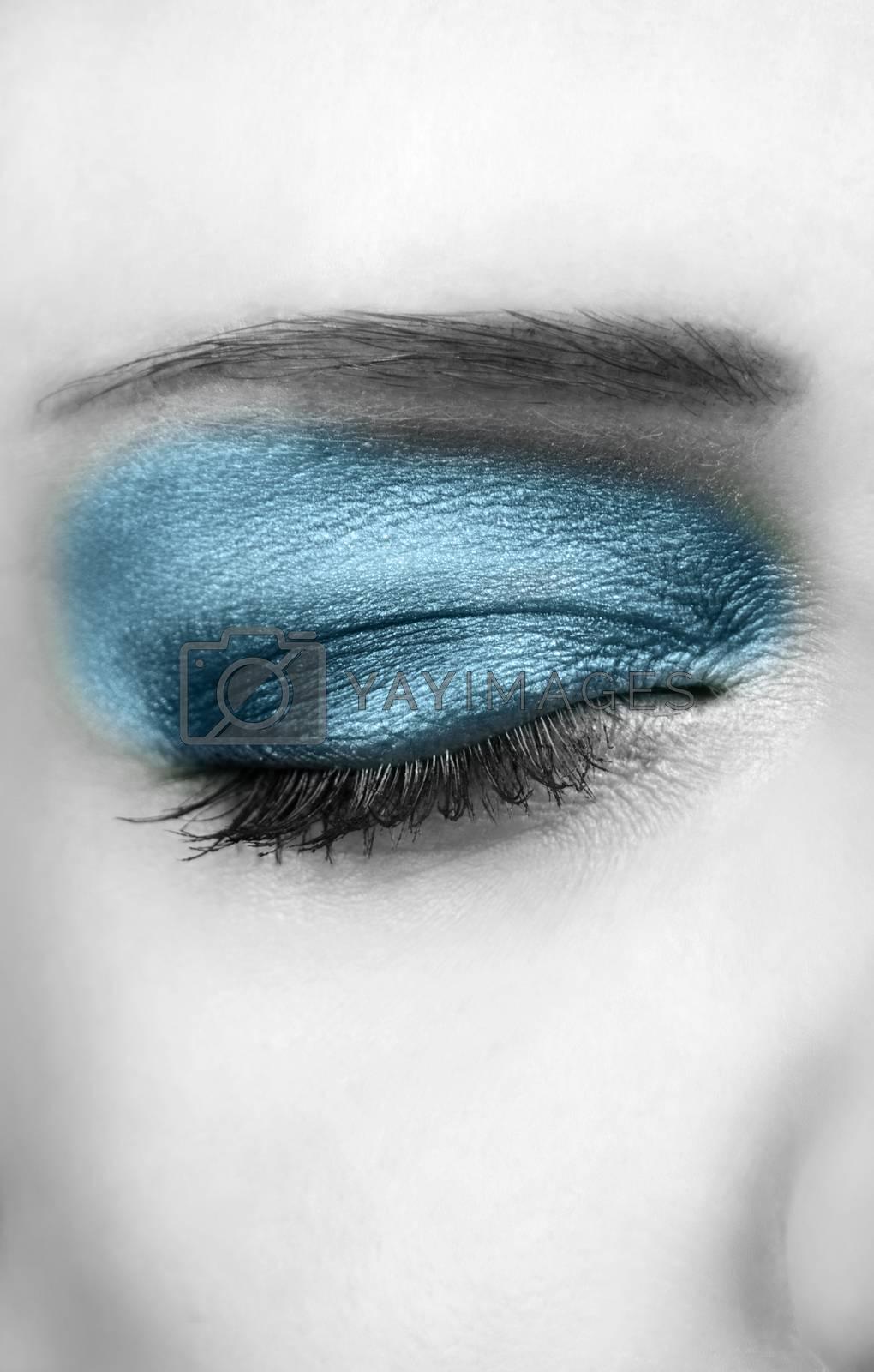 closeup of glamour eye. selective color
