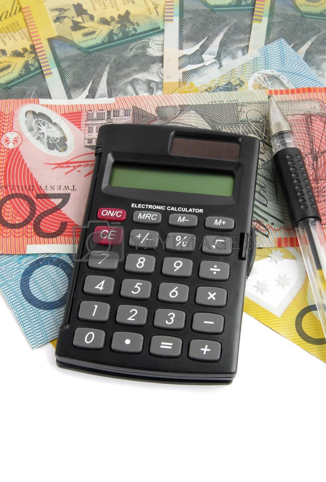australian money with calculator over white