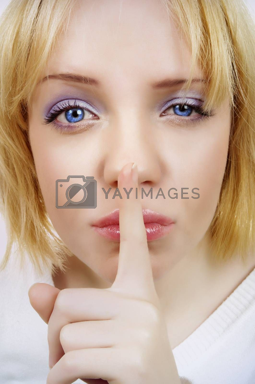 beautiful portrait of blonde woman.silence concept