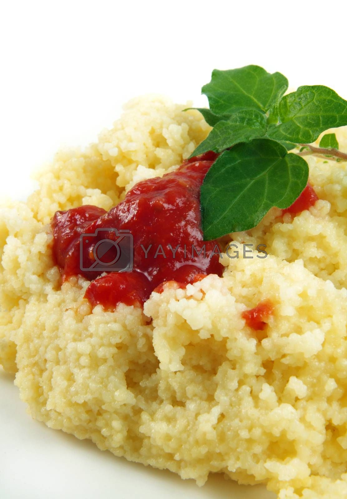 gourmet food.cous cous with sauce