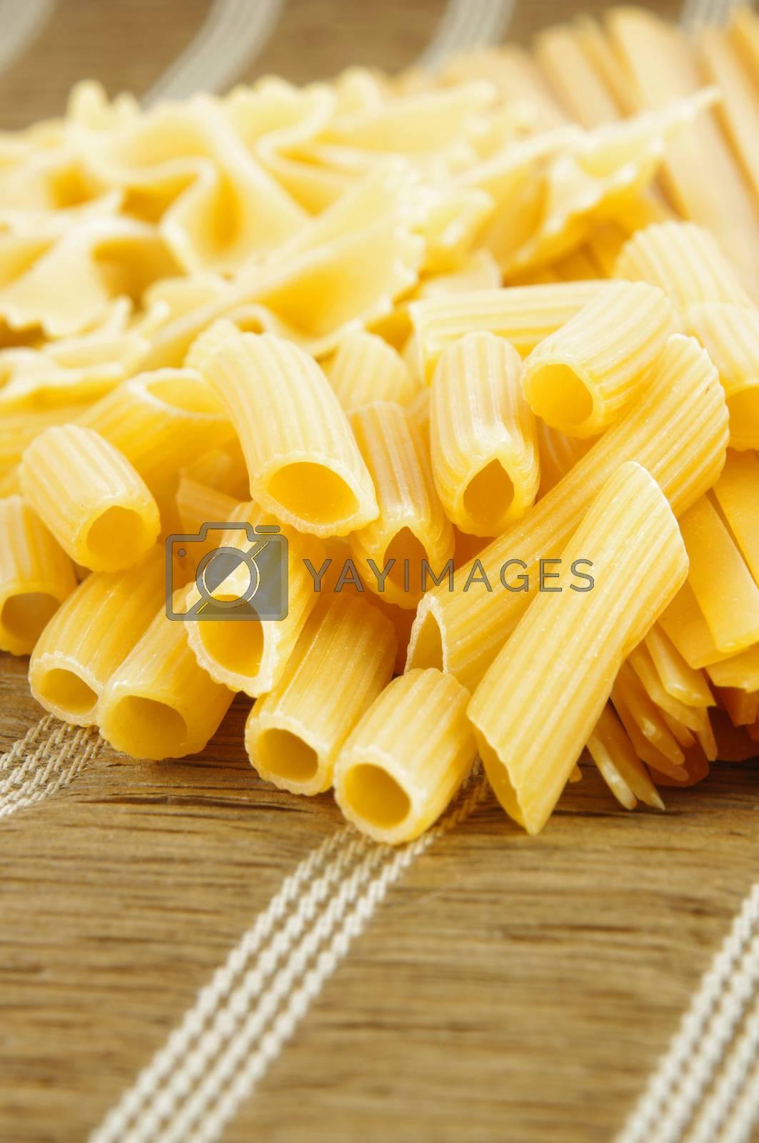 raw pasta closeup on table.shallow dof