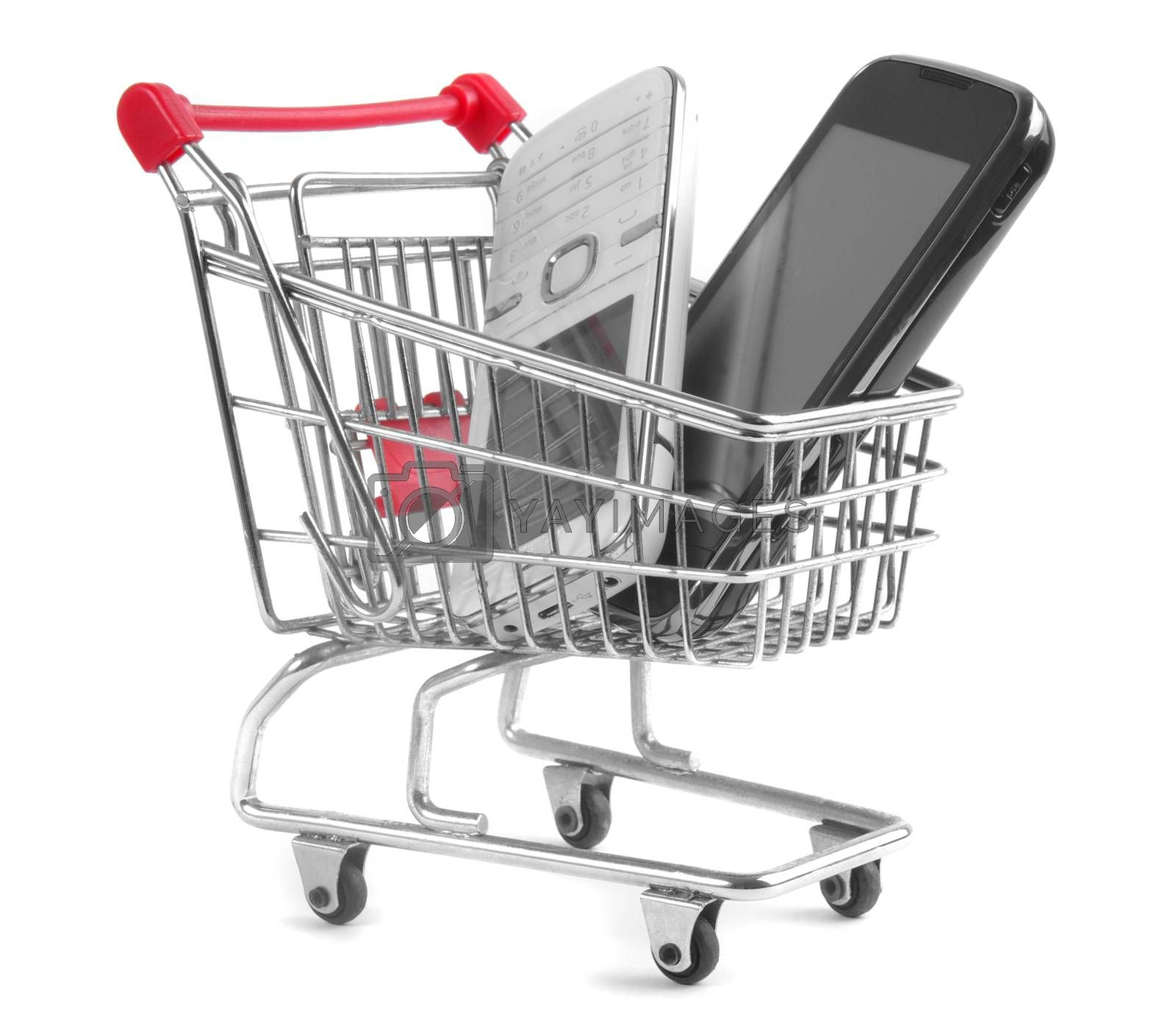 shopping trolley with cell phones isolated on white background