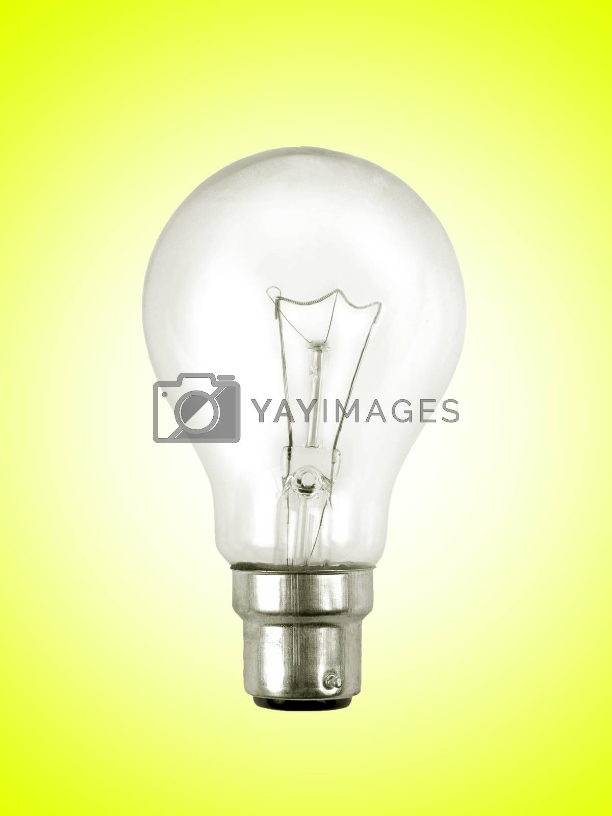 light bulb on the yellow surface
