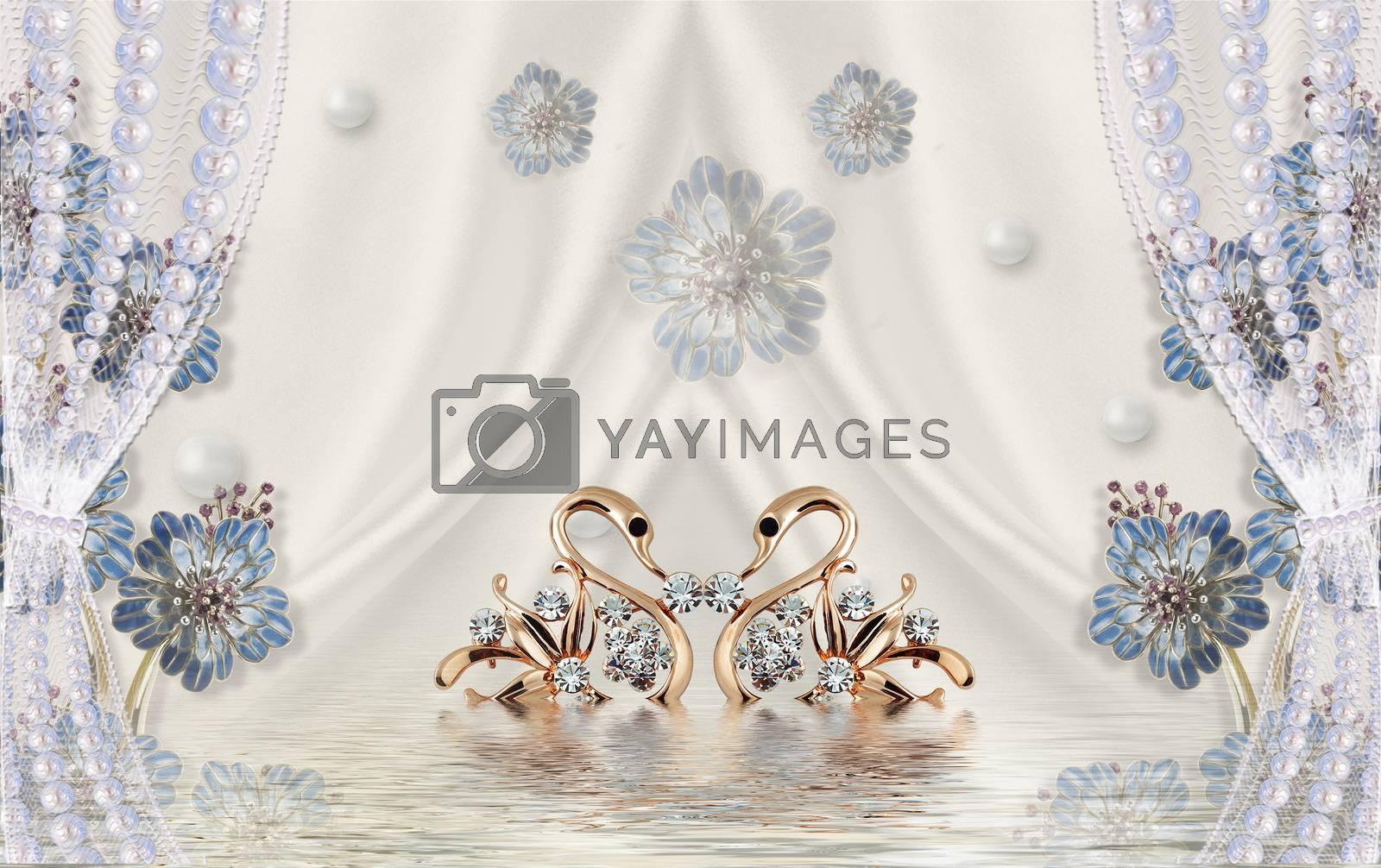 3D wallpaper luxury floral jawelry swan curtain