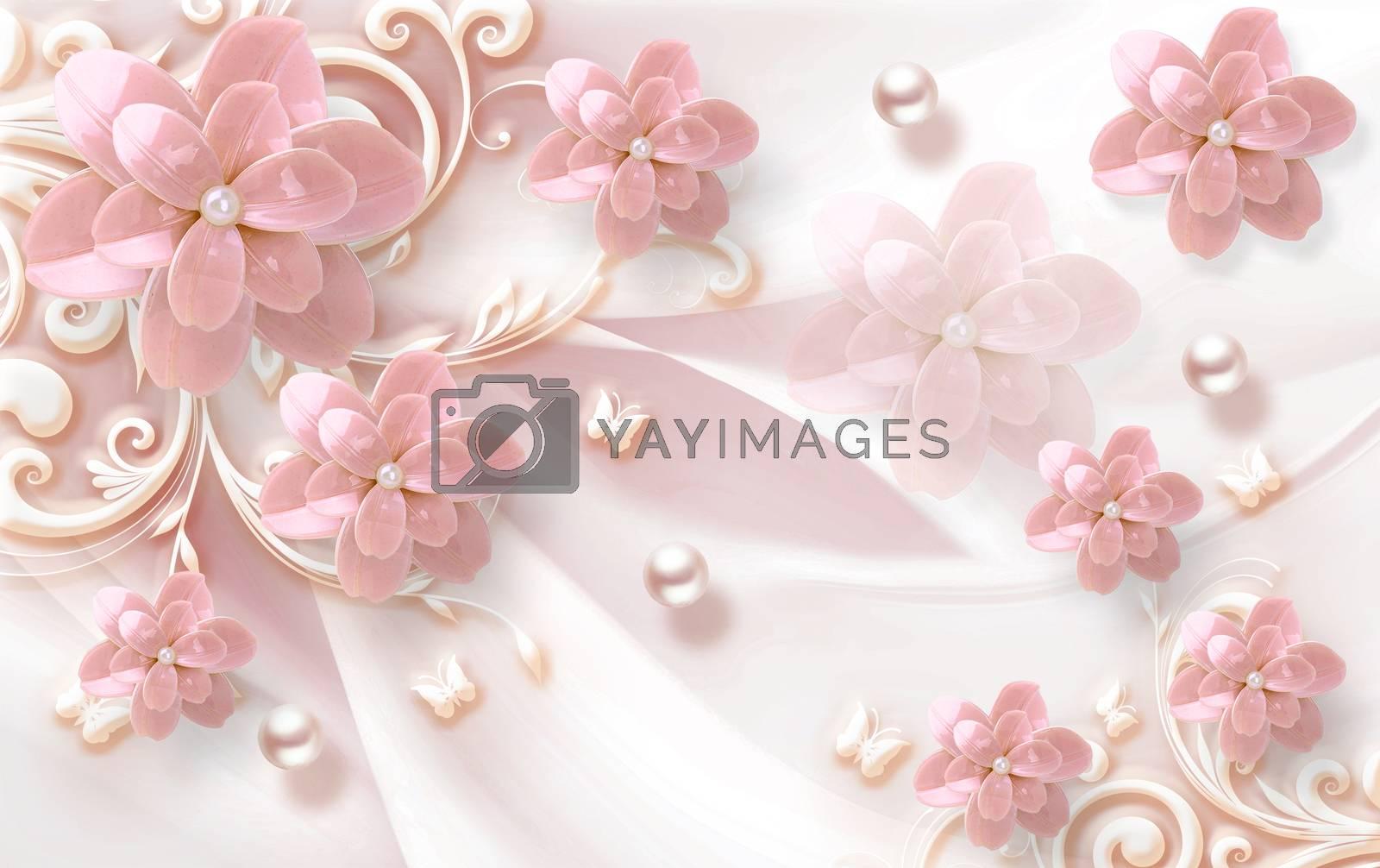 3D wallpaper luxury floral jawelry ornamental background