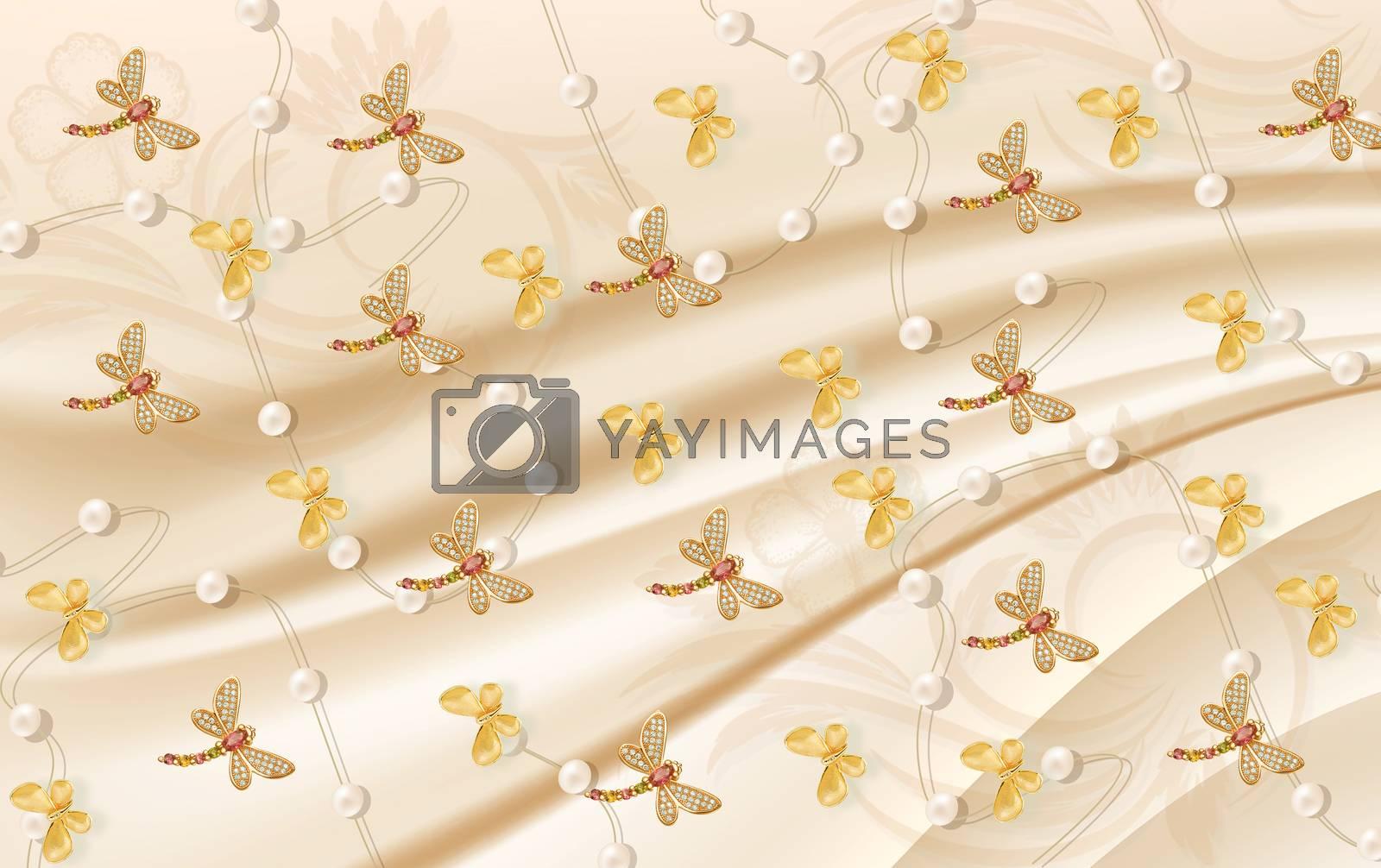 3D wallpaper luxury floral jawelry golden dragonfly butterfly