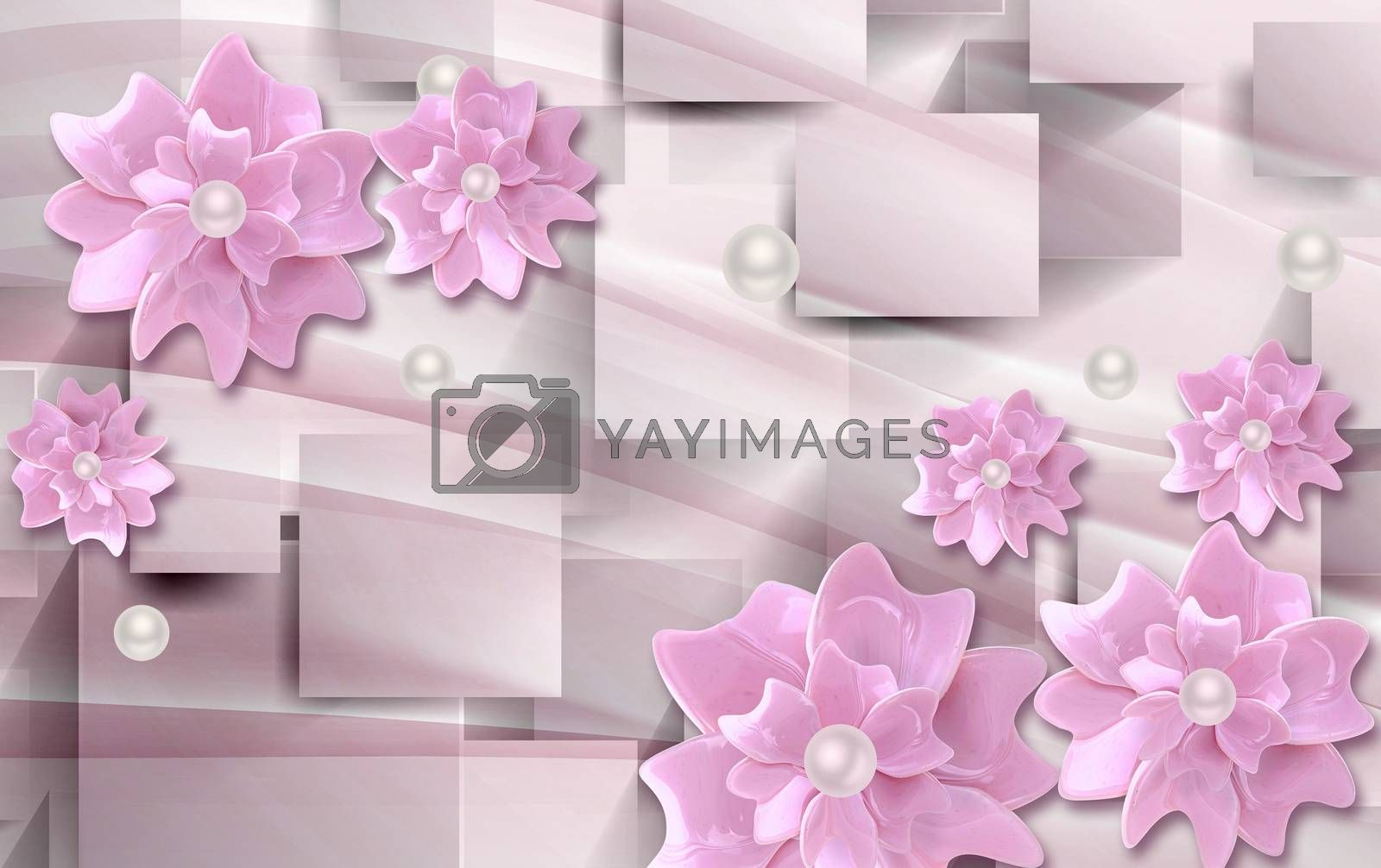 3D wallpaper luxury floral jawelry pink square