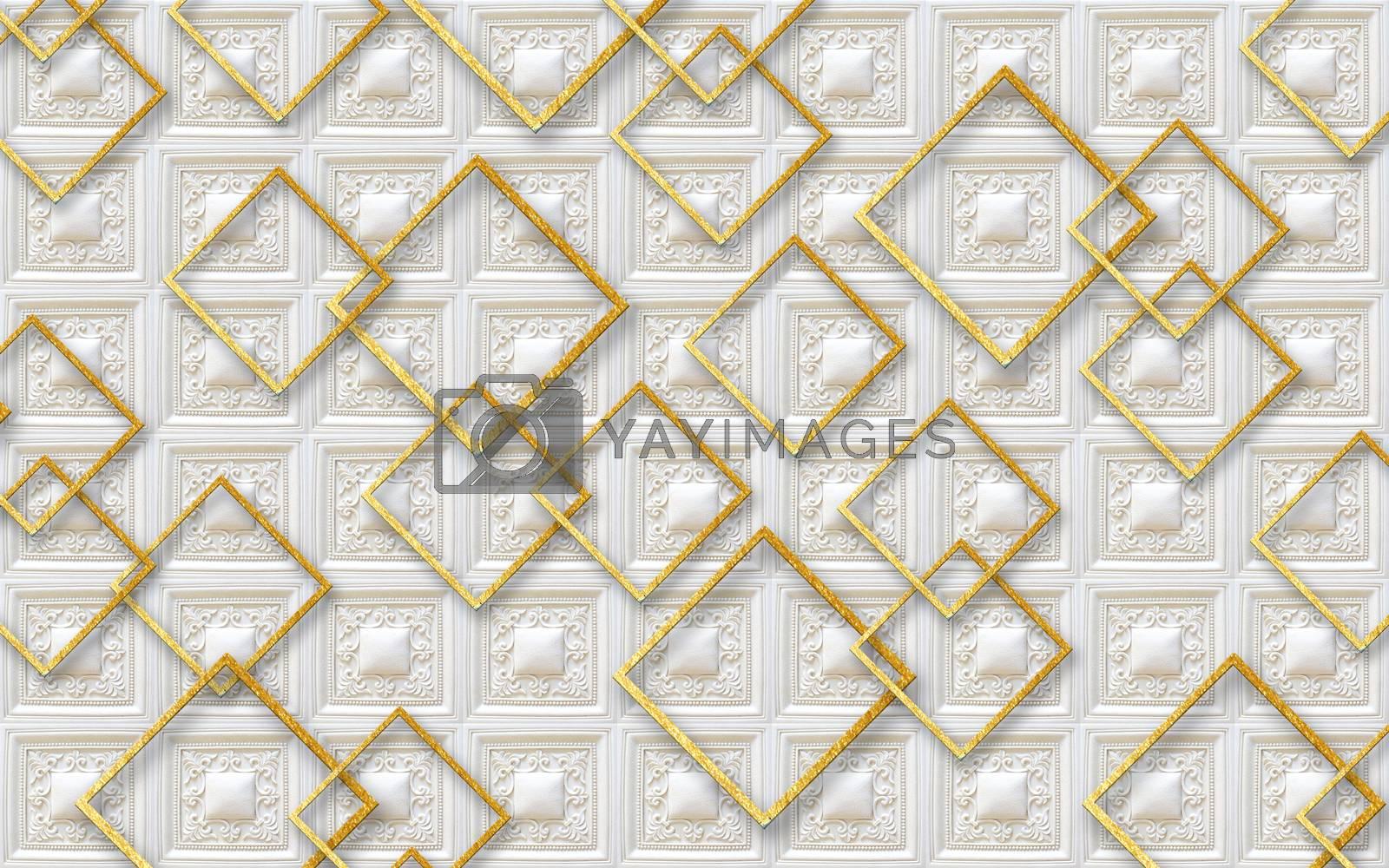 3D wallpaper luxury golden  square background
