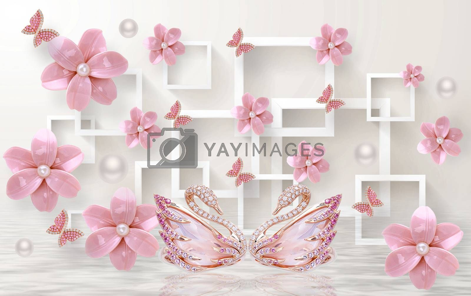 3D wallpaper luxury floral jawelry pink