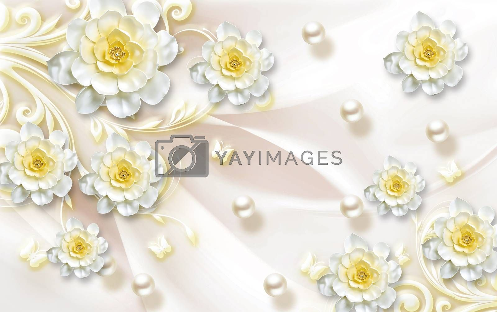 3D wallpaper luxury jawelry floral yellow ornamental background
