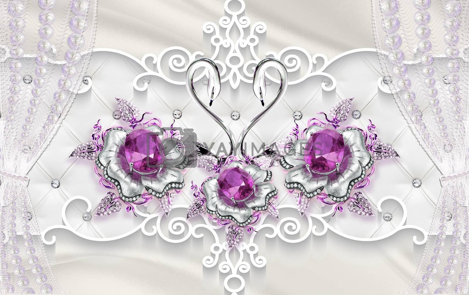 3D wallpaper luxury floral jawelry golden rose purole swan