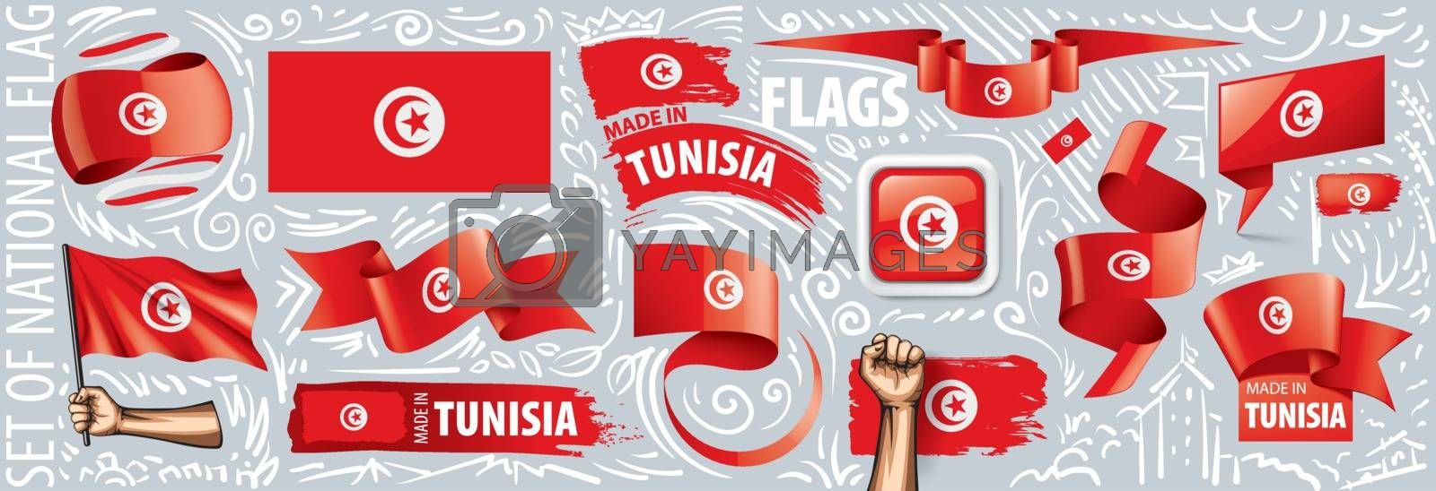 Vector set of the national flag of Tunisia in various creative designs.