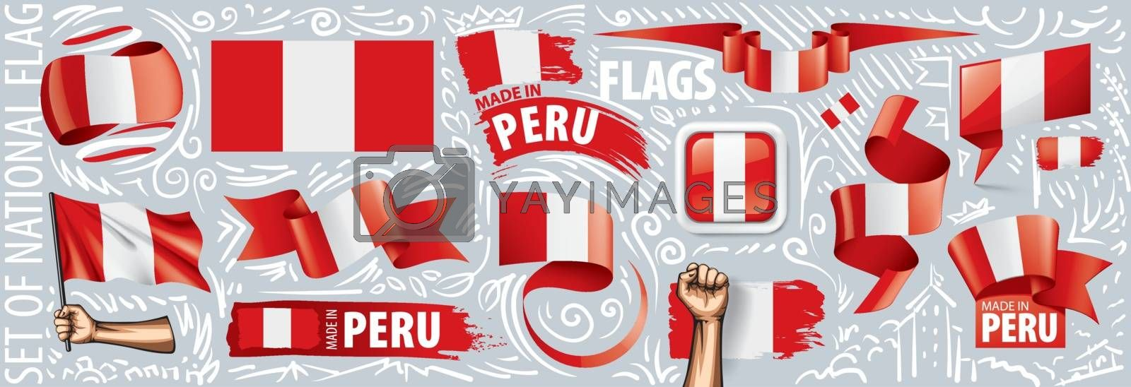 Vector set of the national flag of Peru in various creative designs.