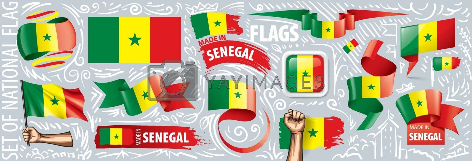 Vector set of the national flag of Senegal in various creative designs.