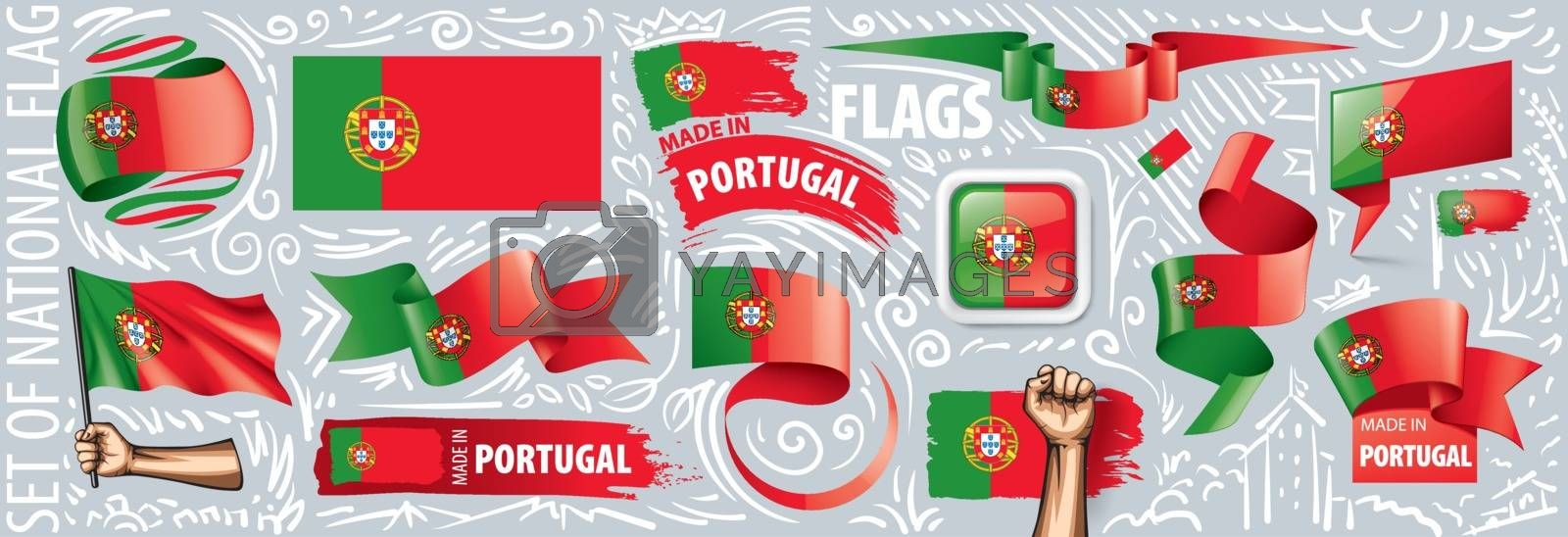 Vector set of the national flag of Portugal in various creative designs.