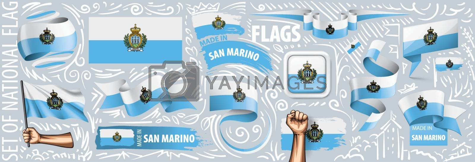Vector set of the national flag of San Marino in various creative designs.