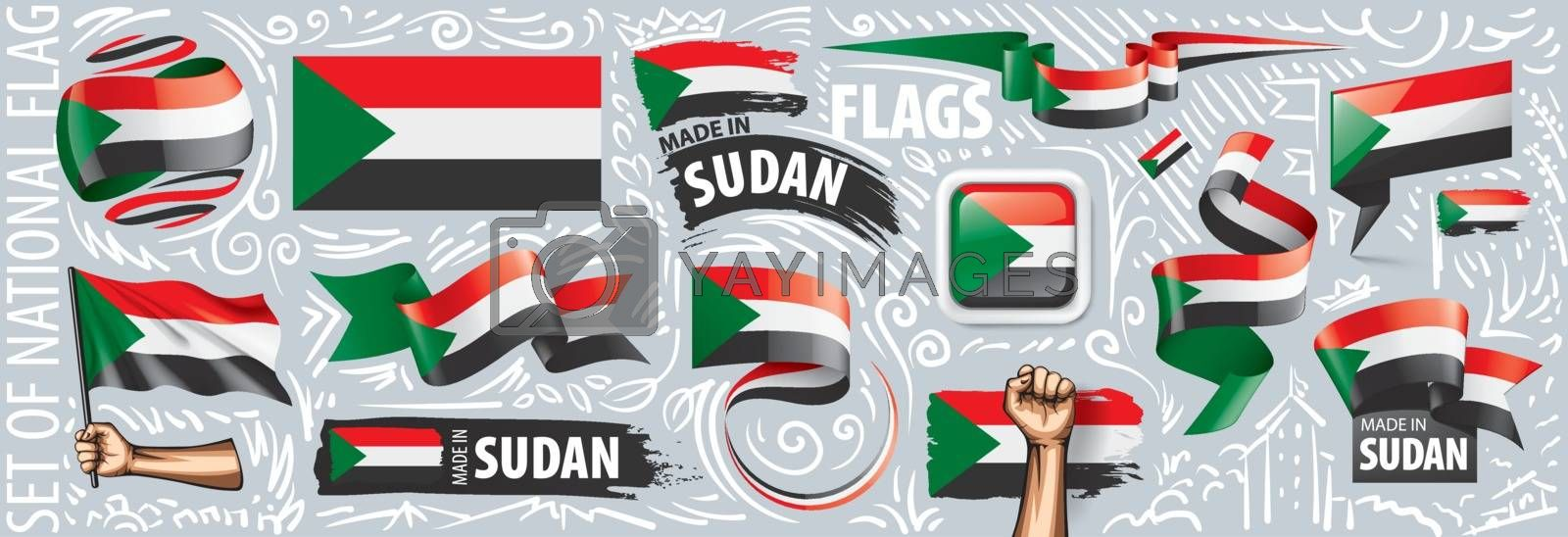 Vector set of the national flag of Sudan in various creative designs.