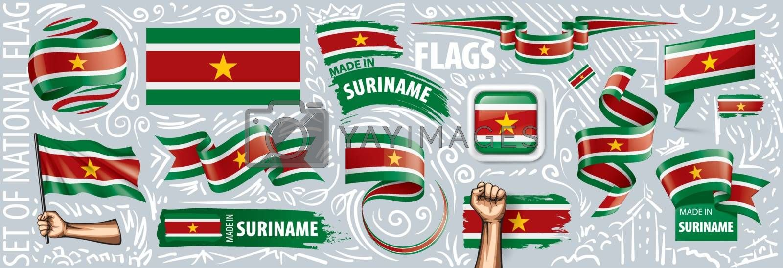 Vector set of the national flag of Suriname in various creative designs.