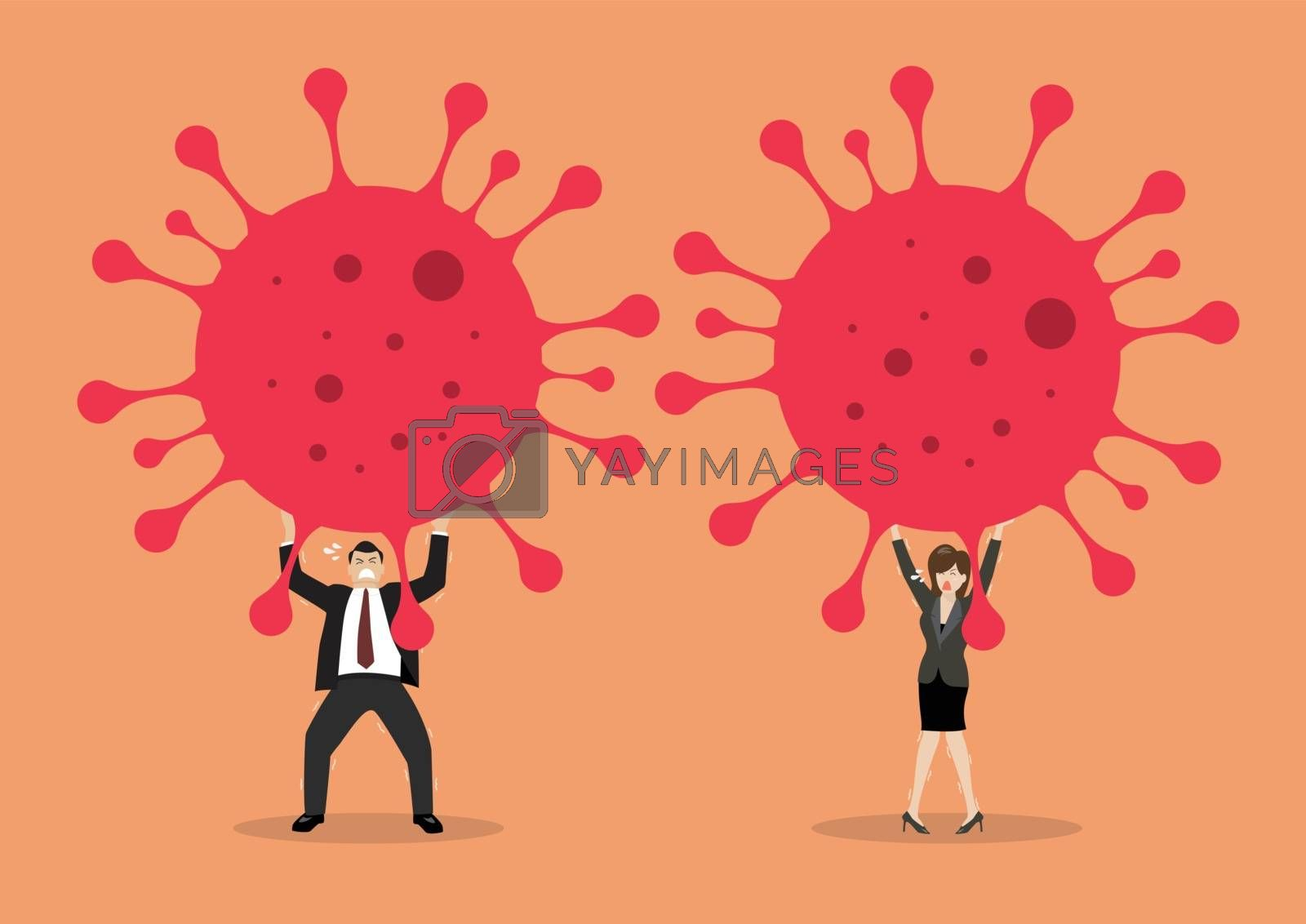 Businessman and woman struggling to carry virus. Covid-19 Coronavirus concept. Vector illustration