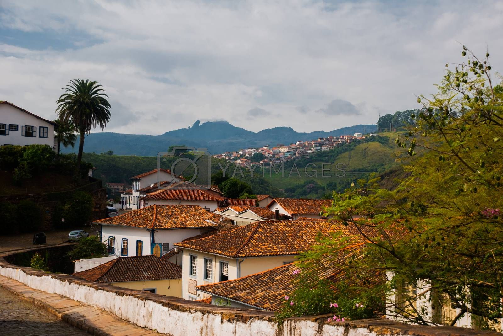 OURO PRETO, MINAS GERAIS, BRAZIL - APRIL 2019: landscape with a beautiful view of the colonial houses on stare street in Ouro Preto. UNESCO world heritage city center of Ouro Preto in Brazil