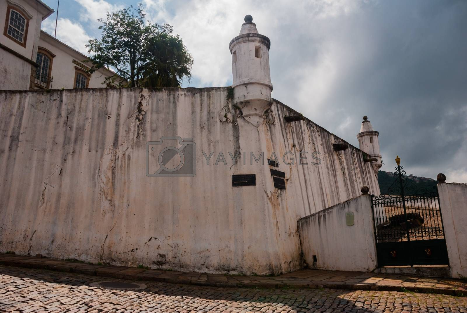 OURO PRETO, MINAS GERAIS, BRAZIL - APRIL 2019: Ancient and historical fortification in colonial architecture at Ouro Preto