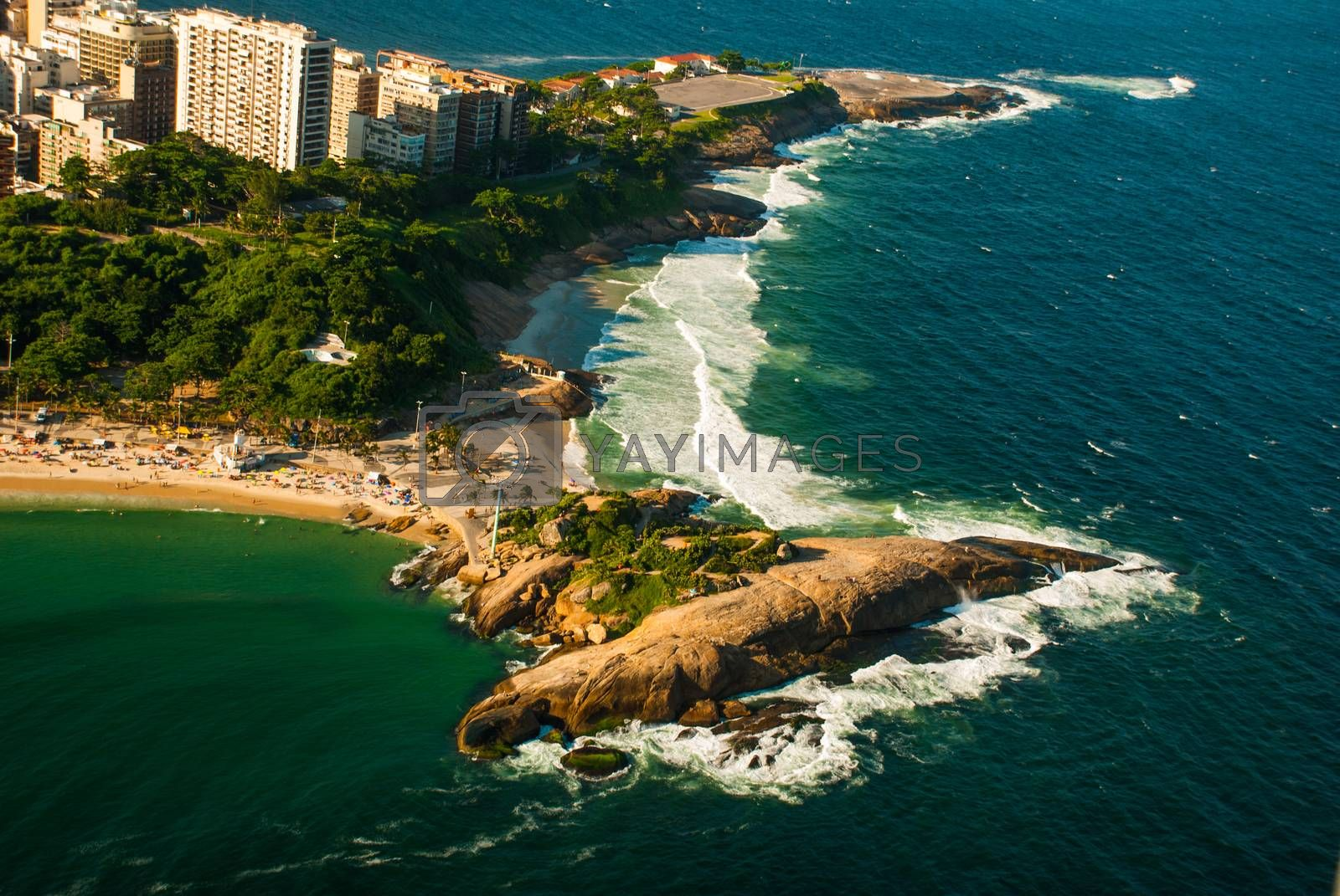 Aerial view of famous Copacabana Beach and Ipanema beach in Rio de Janeiro, Brazil. Beautiful top view of the sea and the beach.