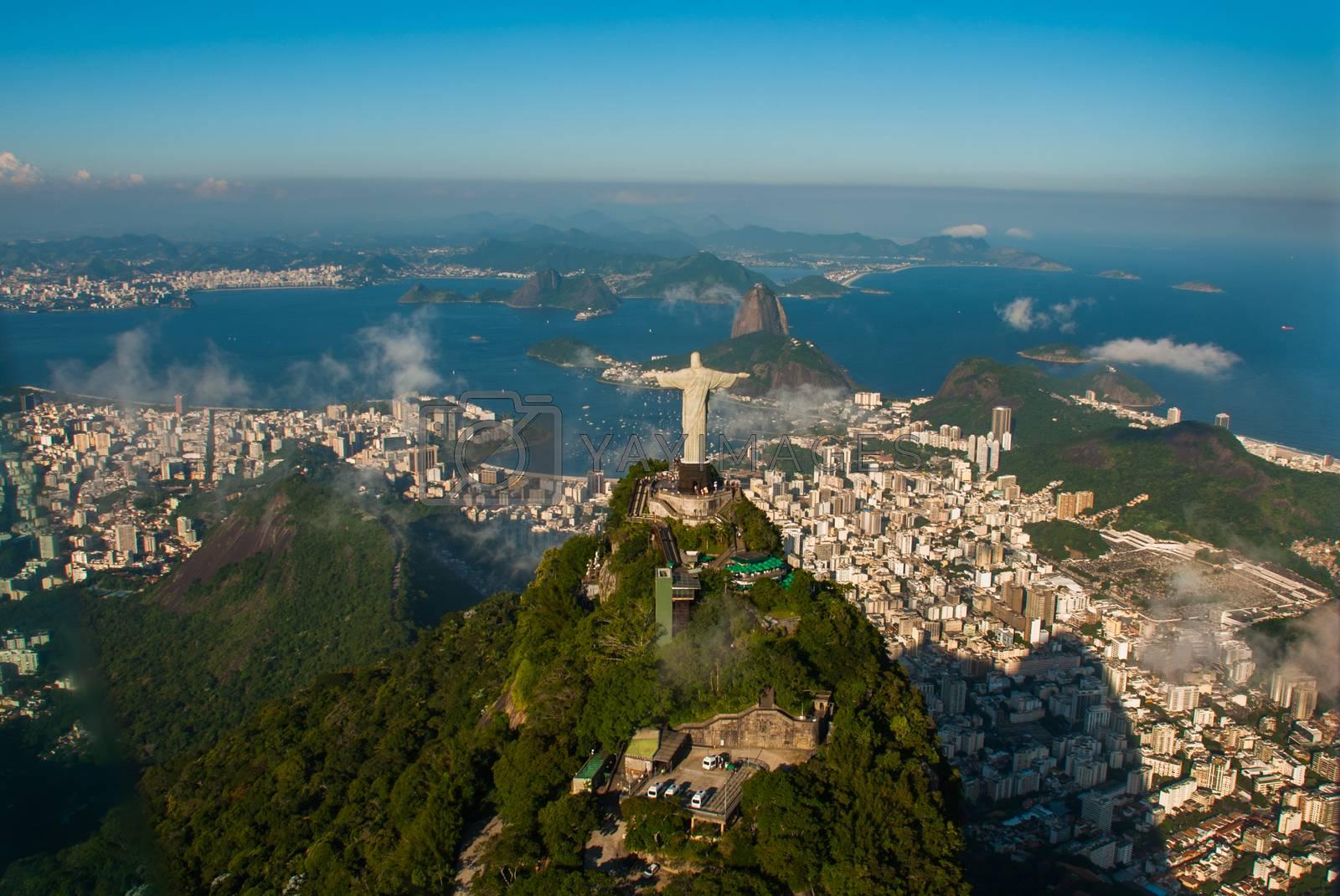 Rio de Janeiro, Brazil: Aerial view of Rio de Janeiro with Christ Redeemer and Corcovado Mountain. Beautiful top view.