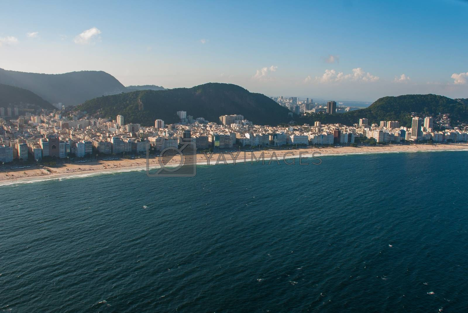 Aerial view of famous Copacabana Beach in Rio de Janeiro, Brazil. Beautiful top view.