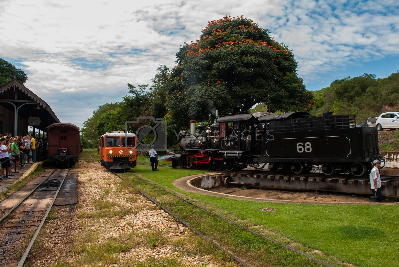TIRADENTES, MINAS GERAIS, BRAZIL - April 2019: an old train that goes between cities for tourists.