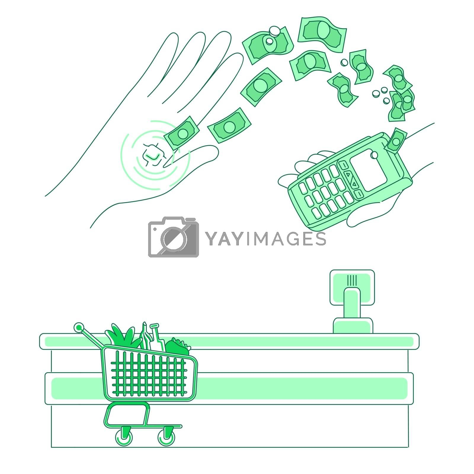 Microchip and payment terminal thin line concept vector illustration. Contactless transaction, people with e-money 2D cartoon character for web design. Device embedded in human hand creative idea