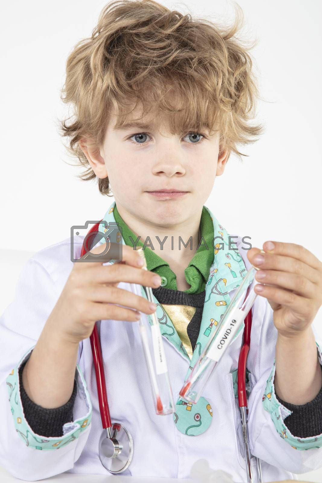 young doctor hold test tube with swab for coronavirus