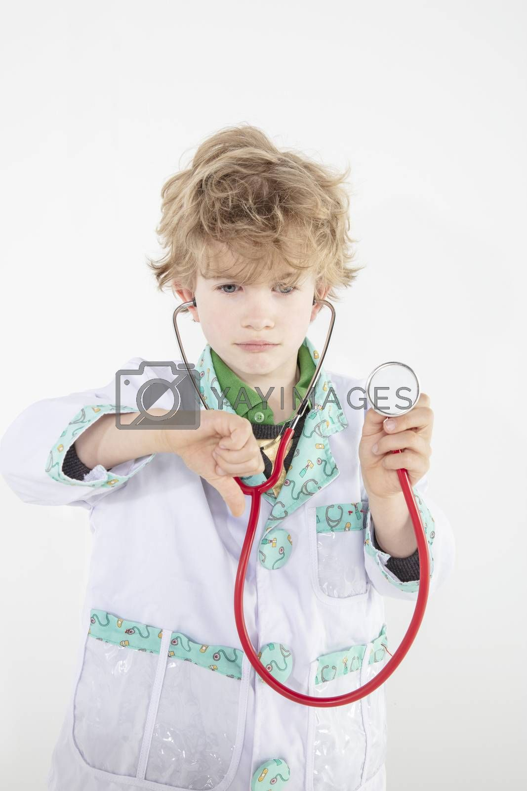 young doctor shows thumbs down, negative emotions