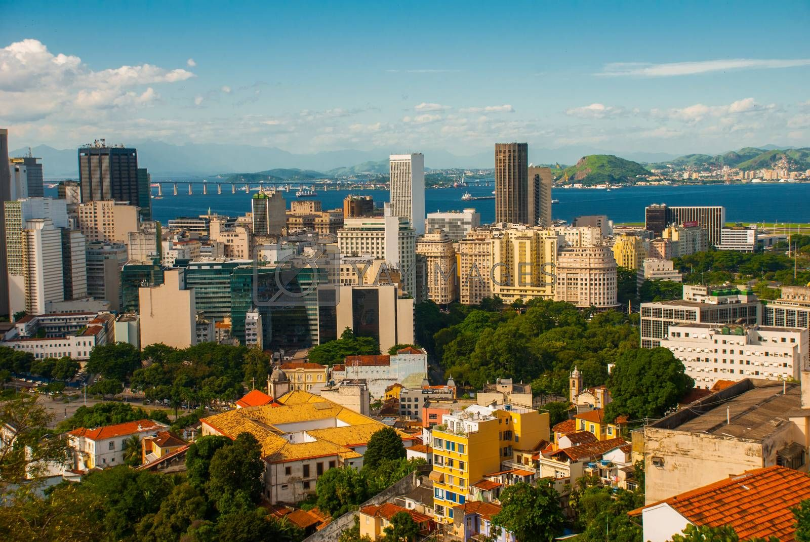 Rio de Janeiro, Brazil. Beautiful view of skyscrapers and houses from above. America
