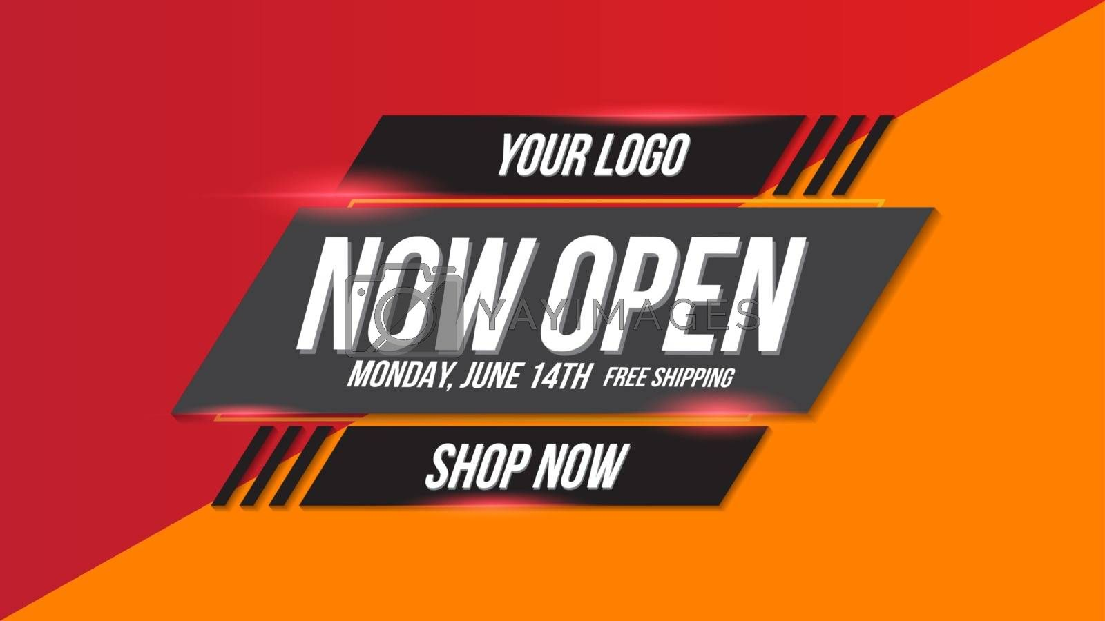 Now open shop or new store red and orange color sign on black background.Template design for opening event.Can be used for poster ,flyer , banner.