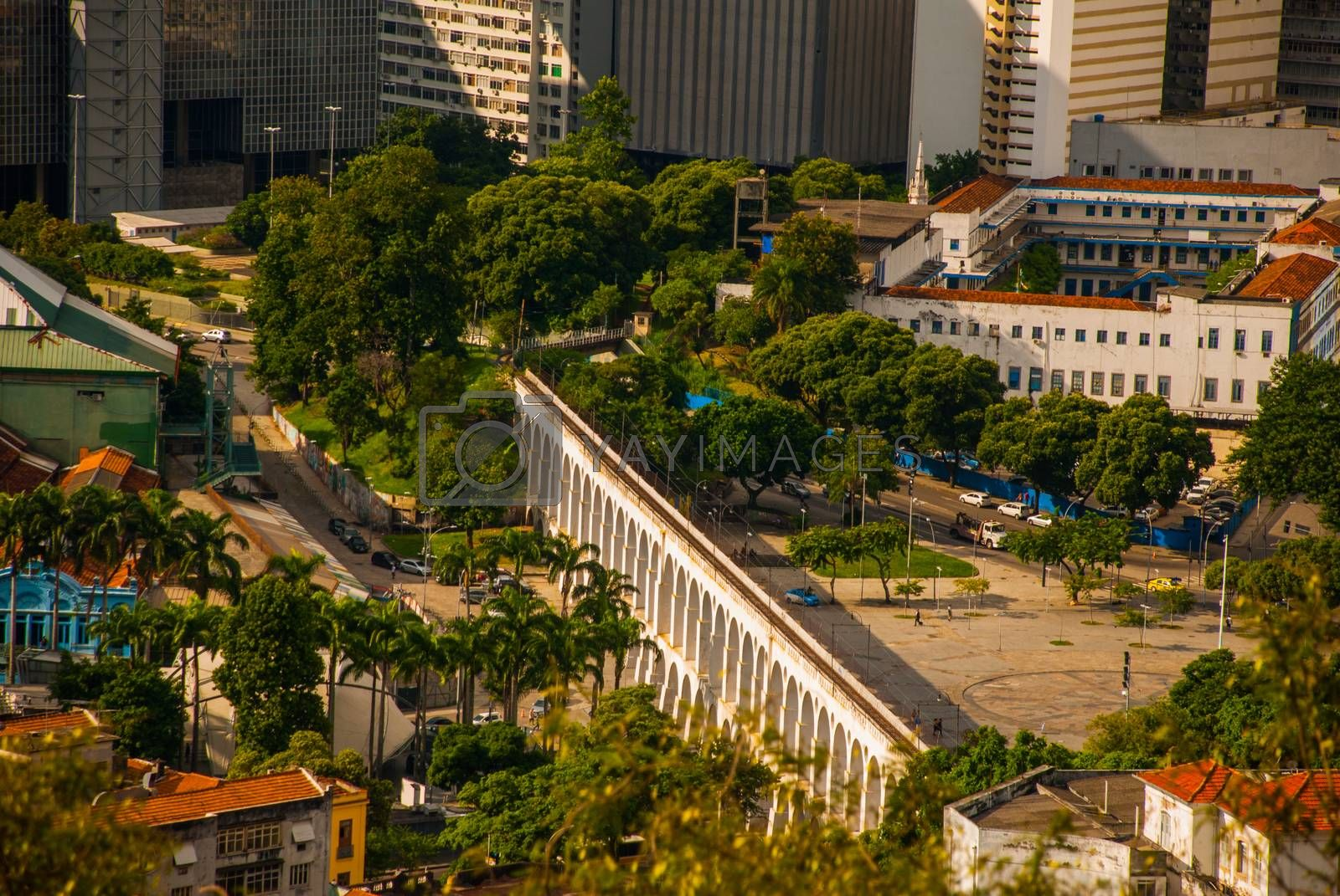 RIO DE JANEIRO, BRAZIL - APRIL 2019: Rio de Janeiro cityscape with the Carioca Aqueduct