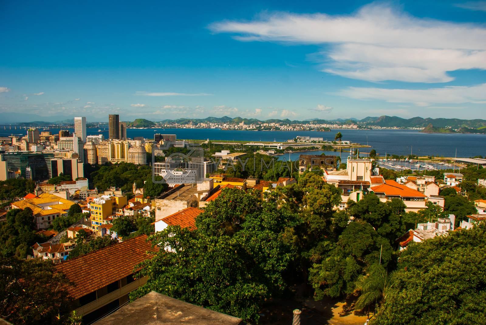 Brazil, City of Rio de Janeiro, Santa Teresa Neighbourhood. Top view of the city from the Ruins of the house Laurinda. Parque das Ruinas. America