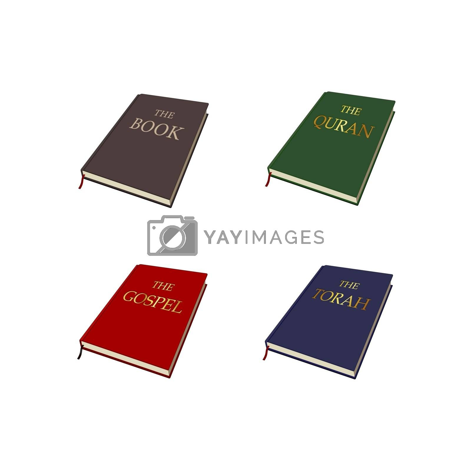 World religions books set. Islam, Christianity, Judaism Religious scriptures. Vector graphic illustration. Isolated quran bible torah