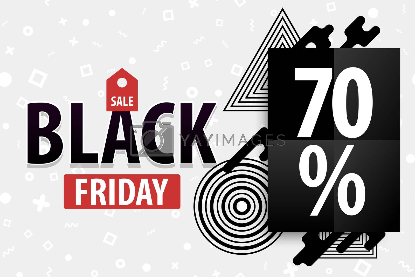 Black Friday light modern minimalistic trendy background. Comic text plastic halftone red, white colors. Super november sale. Discount tag post-modern banner. Round frame.