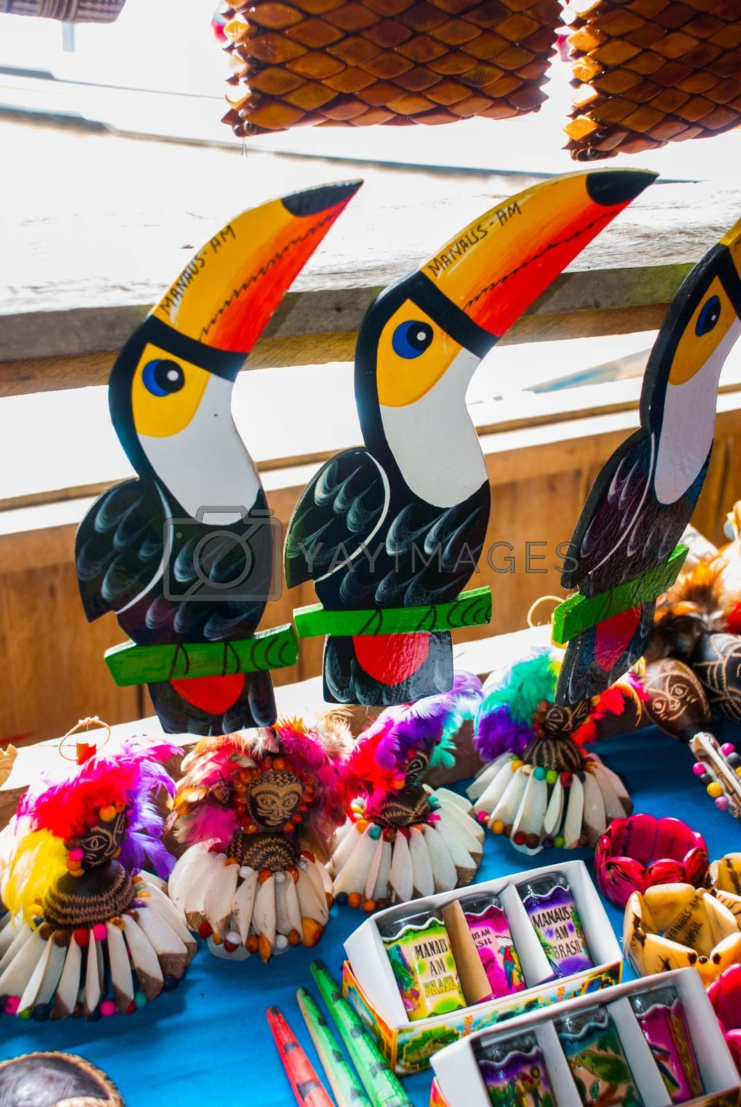Souvenirs in the Amazon rainforest made from local nuts and animals near Iquitos. Market for tourists on the Amazon river. Manaus, Amazonas, Brazil