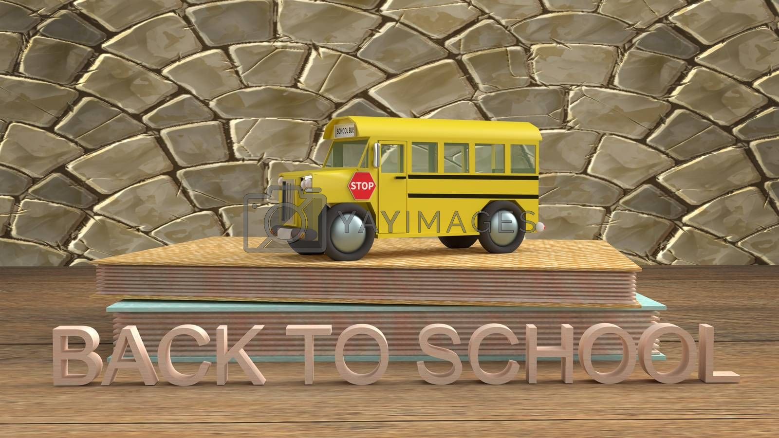 The school bus 3d rendering for back to school content.