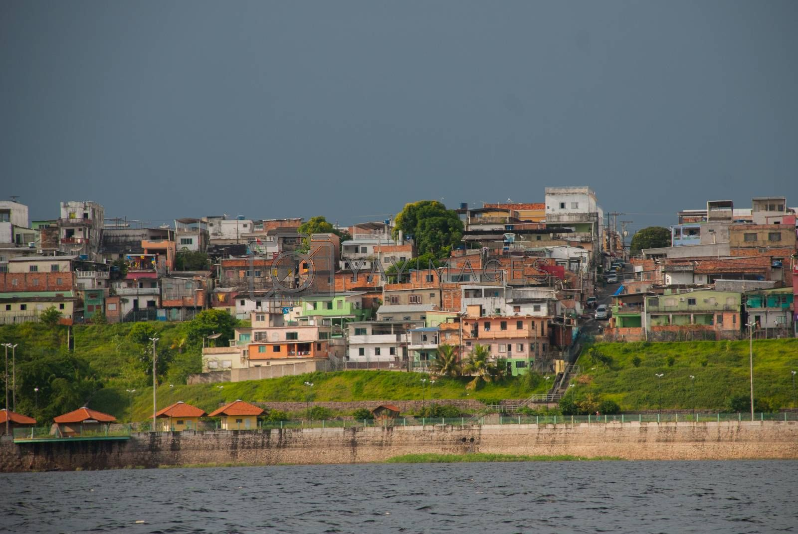 MANAUS, AMAZONAS, BRAZIL - MARCH 2019: Matriz Church. Popular tourist trip on the ship. View from the boat to the port city of Manaus.