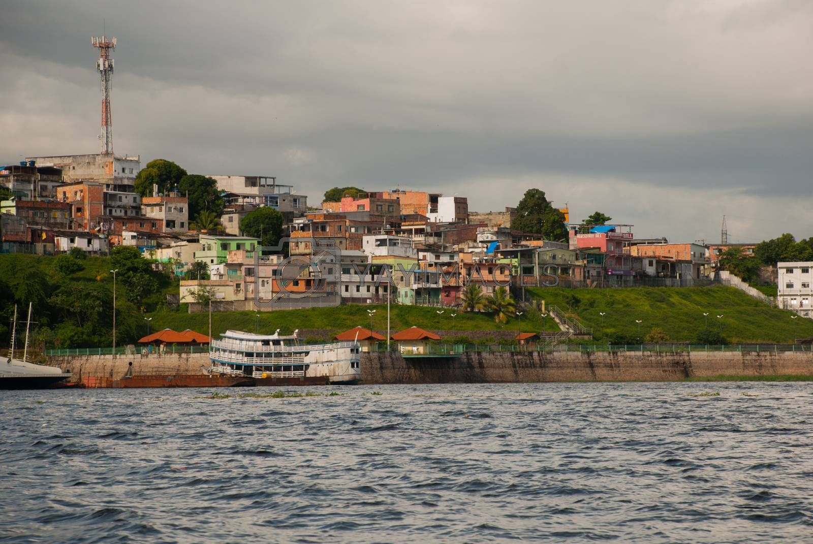 Manaus, Amazonas, Brazil, South America: Popular tourist trip on the ship. View from the boat to the port city of Manaus.
